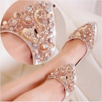 2014 summer new fashion brand pointed toe flat heel comfortable handmade rhinestone fox logo women's single shoes lady mocassin