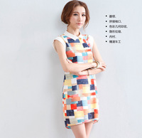 2014 Korean version of the new women's bottoming A colored plaid dress lapel hit color sleeveless chiffon dress