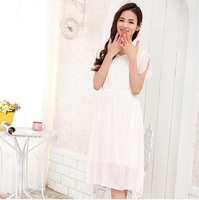 2014 summer new special Korean version of Slim short sleeve solid color chiffon dress long section of a generation of fat Agent