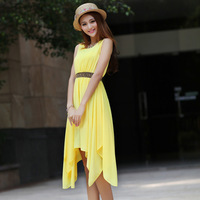 2014 Korean version of the new spring fashion ladies solid color sleeveless chiffon dress in summer dress skirt