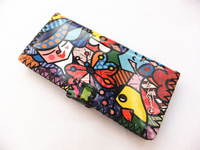 Free Shipping Fashion Hand-sewn Purses,Painting Wallets,Colored Drawing Candy Flowers Butterfly Fish Image Women Cartoon Wallet.