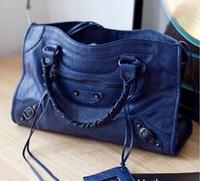 Free shipping 2014 New  Medium  motorcycle bag tassel work  fashion shoulder bag  women's messenger bags handbag city blue