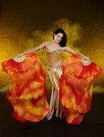 Tie Dye Belly Dance Thicker Silk Fan Veil Nebula Design Wildfire 180cm