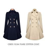 Free shipping women's long sleeve Trench coat winter Slim OL Faux Long Design Coat Outerwear Female coat