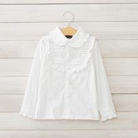 2014 New autumn,girls white blouses,children cotton shirts,long sleeve,bow,beads,2-8 yrs,5 pcs/lot, wholesale kids clothing,1522