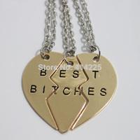 wholesale 2014 new style broken heart 3 parts pendant necklace best bitches necklace best friend RN017