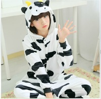 New arrival unisex cartoon cow costumes cosplay adult women men full sleeve animal pajamas free shipping