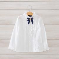 2014 New,girls white blouses,children cotton shirts,long sleeve,bow,2-8 yrs,5 pcs/lot, wholesale kids clothing,1523