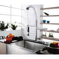 Hot Sale Deck Mounted 8525-4 Pull Up & Down Swivel Polished Chrome Two Spouts Kitchen Sink Mixer Tap Kitchen Faucet