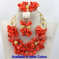 Pink Coral Beads Jewelry Set Nigerian Wedding African Beads Jewelry Set 2014 Brides Gift Jewelry Free Shipping CNR136