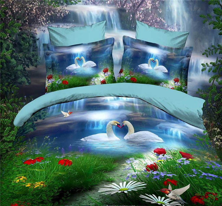Swan couple lover 3d bedding set daytime waterfall swan lake 4pcs bed set comforter cover bed sheet pillowcases flowers B2757(China (Mainland))