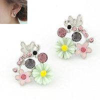 Korea Fashion Enamel Flower Metal Bee Earrings Women Crystal Earring