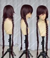Danganronpa Fukawa Touko Purlish Brown Braided Cosplay Party Wigs 98cm Kanekalon Fiber Hair wigs Free Shipping