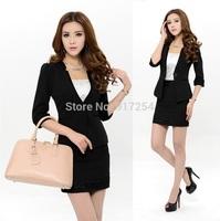 New Elegant Black S-3XL Fashion 2014 Slim Women's Professional Business Work Wear Skirt Suits Uniform Suits Plus Size Uniforms