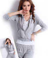 2014 new spring suits Korean Women leisure suit Fashion cardigan hooded sweater three sports suit 1810