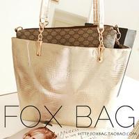 2014 Fashion Handbag  large shoulder bag Genuine Leather Handbags Silver Gold Bag Big Bag Free Shipping