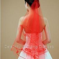 Red Yarn bridal thick line edge new studio photos of red veil wedding
