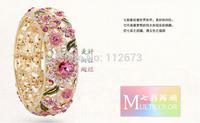 2014, new cloisonne Chinese wind enamel craft fashion 18 k gold bracelet with crystal, women jewelry