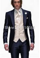 Wholesale Free shipping Black Groom suit Wedding Groomsman cutaway men tuxedos (jacket+vest +Pants+tie)