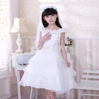Girl Layered dresses High quality Baby Wedding dress Children Full dress Ruffles Chiffon clothing 90-150cm