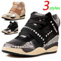 Popular Rivet ASH Wedges Fashion Sneakers,Serpentine 3 Styles,Size 35~39,Height Increasing 5cm,Women`s Shoes