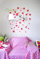 Funlife Valentine's Day Present Pink Red 3D Flowers Tatoo Wall Stickers for Princess Room Decoration Gift FlowerBD002