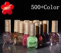 2014 Sweet Color eco-friendly Nail Art UV Gel Soak Off varnish base coat top coat uv gel Added Calcium Nail Polish set 500 color