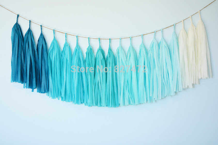 """Free Shipping 25 sheets 14"""" Mixed Color Tissue Paper Tassels Garland DIY Wedding Party Decoration baby shower layout(China (Mainland))"""