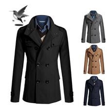 2014 To fashion mens wool winter coats plus size M/L/XL/XXL long wool brand pea coat autumn overcoat men drop shipping(China (Mainland))