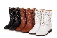 MEMOO 2014 Size4-12 Women Martin Boots Sexy Flat Heel Round Toe Square Heels Waterproof Platform Slip-On Rivets Fashion A1014