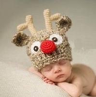 Lovely Deer Hat Dropshipping Handmade Kids Children Knitted Photography Props Animal Infant Beanie Caps Hats Costume Crochet
