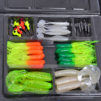 35 Soft Bait Small 10 Lead Head Hook Lure Combination Set Soft Fishing Lure Set Soft Bait Fishing Tackle