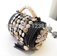 New Casual Fashion Women HOT Cute Fashion Handbag High Quality PU Leather Beading Button Beige Black Girl's Bag N-MY 007