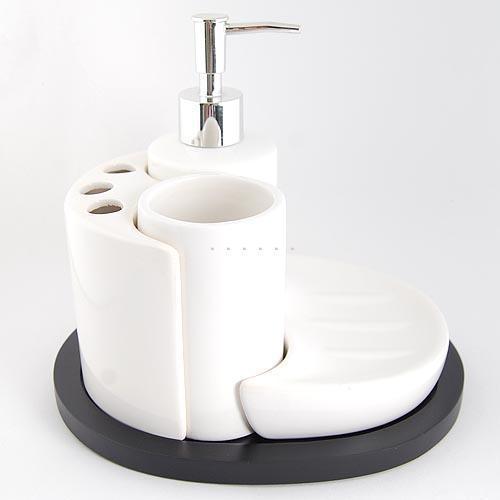 أربعة قطعة مجموعة الحمام الأبيض كيتالأسود الشاسيه مجموعة الحمام السيراميك الأبيض الكأس الفرشاة 5 مجموعات ملحقات الحمام(China (Mainland))