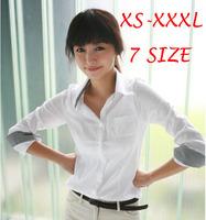 2014 Spring Women Blouses Autumn White Long Sleeve Plaid Shirt Girls Work Wear Plus Size Femininas Blusas Women Clothing ZL5381