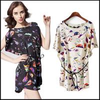 2014 Girl and Women's Birds Print Batwing Sleeve Spoon Neck Mini Chiffon Dress With Free Gift Plus Size S-XXL