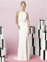 2014 Designers White Lace And See Through Beading A-line Wedding Dresses With Removable Train Bridal Dresses Tulle 986