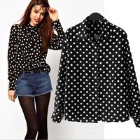 2015 New European Style Black Polka Dot Ladies chiffon shirts fashion Long sleeve large size loose Blouses Tops Wholesale retail