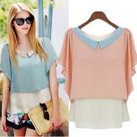 Female summer short-sleeve 2014 women's peter pan collar shirt chiffon shirt top plus size basic shirt a987