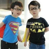 2014 summner new baby boys superman batman shirts tops boys short sleeve balck & blue t shirt Children's Shirts 2-8T,5pc/lot