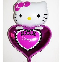 The new aluminum balloons wholesale classic Valentine's Day wedding party 78CM high KT cat holding heart foil balloon retail