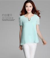 2014 new summer slim plus size cool chiffon shirt short-sleeve top shirt female short-sleeve shirt