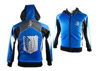 High quality autumn attack on titan Freedom Wings casual zipper hoody Sweatshirt jacket hoodie hoody coat for boy