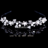 wave shape pearl alloy hairbands wedding hair Accessories Free Shipping  12