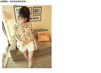 Free shipping,Large size xxxl  loose  print bat sleeve  blouse chiffon women's shirt