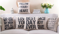 Free shipping Encourage Follow your heart Best Day Ever Peace Joy Love Today is gift words pattern Cushion Cover pillow Case