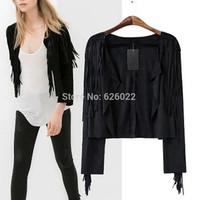 2014 New Summer Autumn Fashion Women Black Small Lapel Tassel Irregular Fringed Cardigan Short Jacket Casual Outwear Blouse Tops