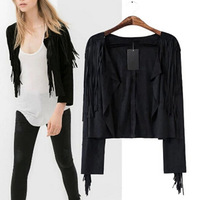 Hot Sale Fashion Women's Black Small Lapel Tassel Irregular Fringed Cardigan Short Jacket Casual Outwear Blouse Tops