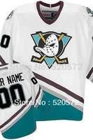Womens - Custom Ice Hockey Mighty Ducks Of Anaheim Jerseys 1996-06 White/Green - Customized  (XXS-6XL)