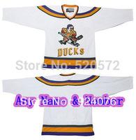 Womens - Mighty Ducks Movie Hockey Jersey Stitch Sewn White Custom Personalized hockey - Customized  (XXS-6XL)